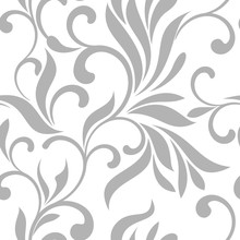 Seamless Pattern With Gray Swirls On A White Background