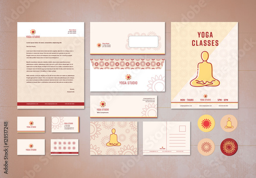 yoga studio branding stationery layout kit buy this stock template