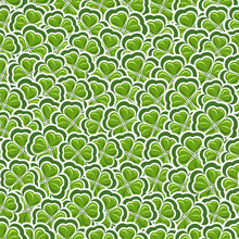 Vector Seamless Pattern Clover For St Patrick's Day, Green Shamrock Wrapping Paper, Ornament Clover Foliage, Spring Shamrock Seamless Pattern, Floral Background Wallpaper Irish Trefoil, Green Art Lawn