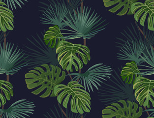 Fototapeta Do sypialni Seamless pattern with tropical leaves. Hand drawn background.