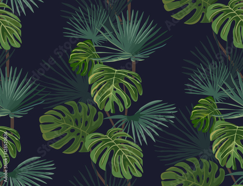 Foto  Seamless pattern with tropical leaves. Hand drawn background.