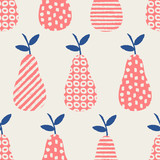 Hand drawn seamless pattern with pears in blue, pink and cream. - 128524441