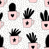 Seamless pattern with plants in mugs in black and pastel pink on dots texture background. - 128525420