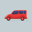 Red car cargo type isolated background. Flat icon vector illustr