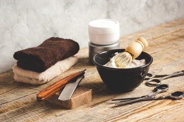 Wooden desktop with tools for shaving
