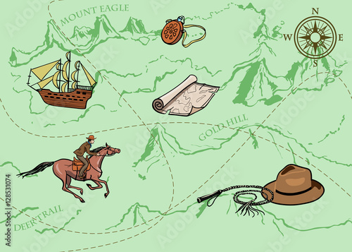 Cotton fabric Adventure vintage seamless pattern of map. Map of treasure with rider, mountains, hills, river, compass and other design elements. Vector hand drawn background.