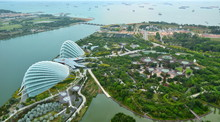 Aerialview Of Singapore Landscape Over The Garden By The Bay In Marina Bay Sand