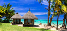 Relaxing Tropical Holidays With Bungalows And Hammock On White Beach