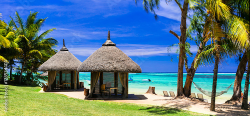 Poster Tropical plage Relaxing tropical holidays with bungalows and hammock on white beach