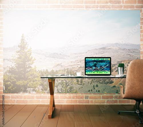 Fototapeta Creative workplace with forex chart obraz