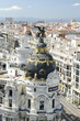 Aerial view of Metropolis building, this building was built in 1911, is a famous landmark in Madrid.