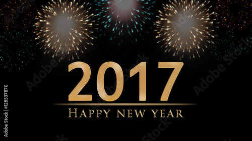 2017 New Years Eve Illustration Card With Colorful Fireworks And Golden Happy Year Text