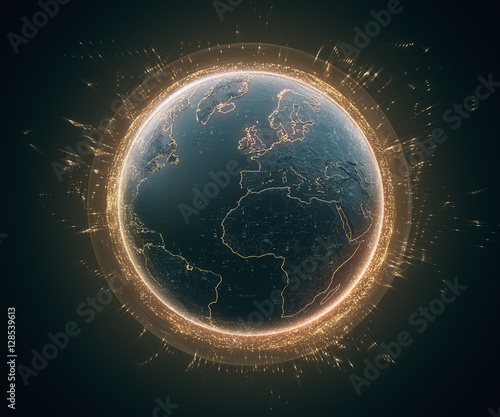 Fotografía  3d illustration of detailed virtual planet Earth with glow and orange bright elements
