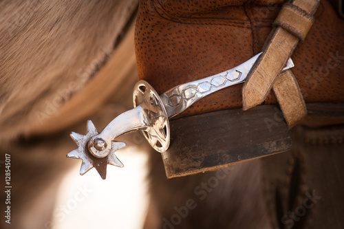 Spur On Boot Of Person Riding Horse