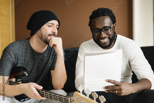 Artists producing music. Canvas Print