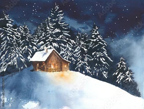 Domowa kabina w drewnach w lasowej akwarela obrazu ilustraci kartka z pozdrowieniami bożych narodzeniach