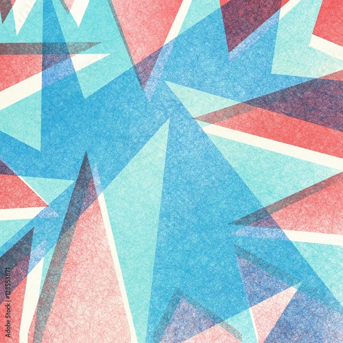 abstract modern background with texture angles and red white and blue colors in faded vintage retro style