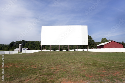 Photo  Rural drive-in in field.  Horizontal.