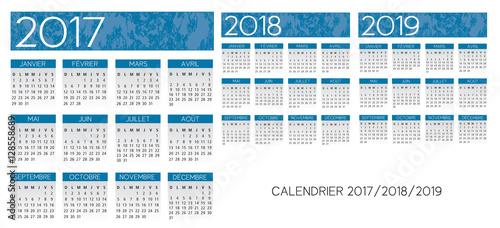 Fényképezés  French blue Calendar 2017-2018-2019 vector text is outline versi