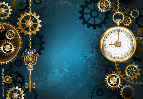 Stampa su Tela Turquoise Background with Gears