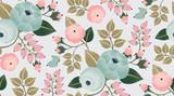 Wektorowa ilustracja bezszwowy kwiecisty wzór z wiosna kwiatami. Piękny kwiatowy tło w słodkich kolorach - 128563480
