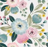 Wektorowa ilustracja bezszwowy kwiecisty wzór z wiosennymi kwiatami. Piękny kwiatowy tło w słodkich kolorach - 128564061