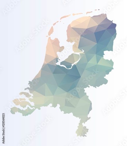 Polygonal Netherlands map Fotobehang