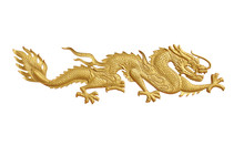 Golden Dragon Sculpture With I...