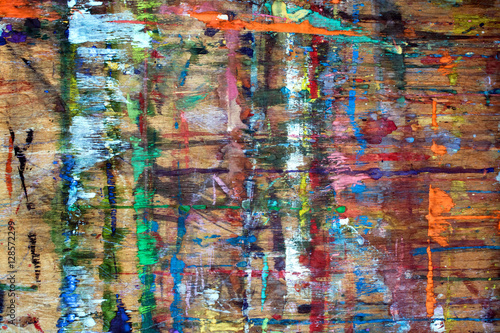 Fototapety, obrazy: wooden board with paint strokes