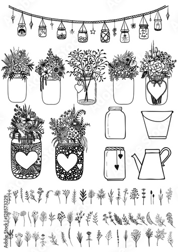 Fotografia, Obraz  Big set of mason jars and wild flowers for design element for wedding cards, gift card, Valentines card and so on