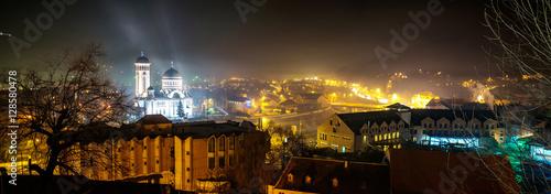 Fotografie, Obraz  Panorama of Sighisoara Citadel at night in winter.