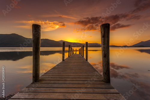 Ashness Jetty sunset Keswick Lake District Fotobehang