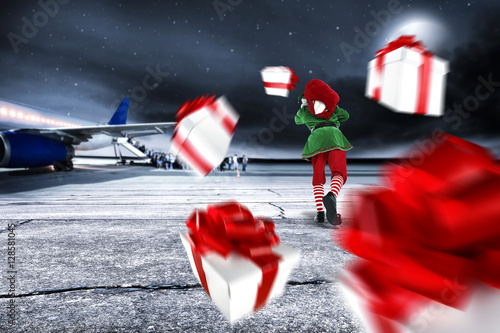 Photo  xmas time on airport and elf