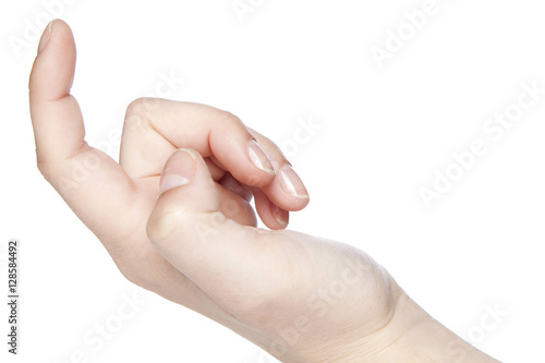 Photo  inviting gesture, a hand on a white background
