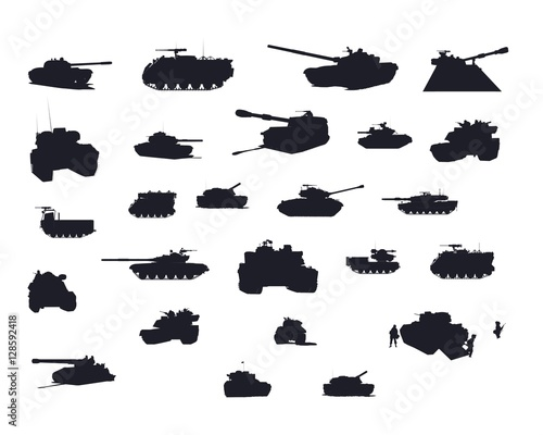 Obraz na plátně  Tank Vector Silhouettes Set