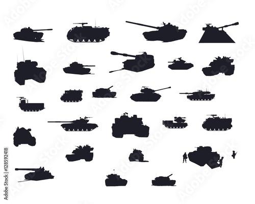 Tank Vector Silhouettes Set Canvas Print