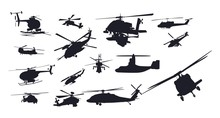 Military Helicopter Vector Silhouette Set