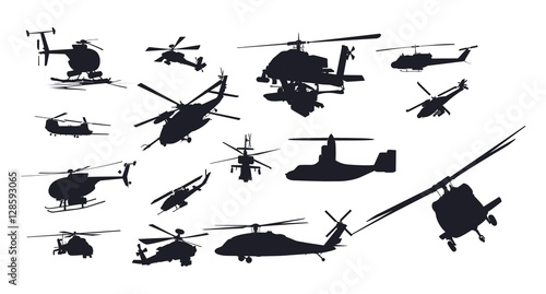 Fotomural Military Helicopter Vector Silhouette Set