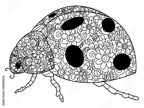 Ladybird coloring vector for adults