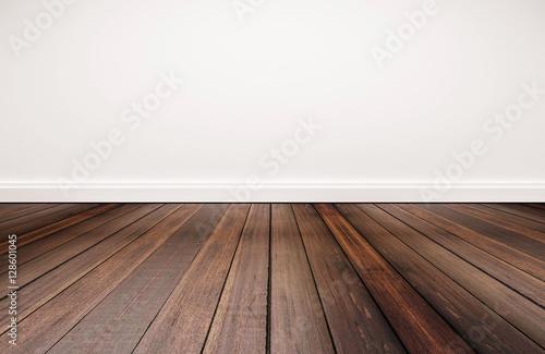 Obraz hardwood floor and white wall - fototapety do salonu