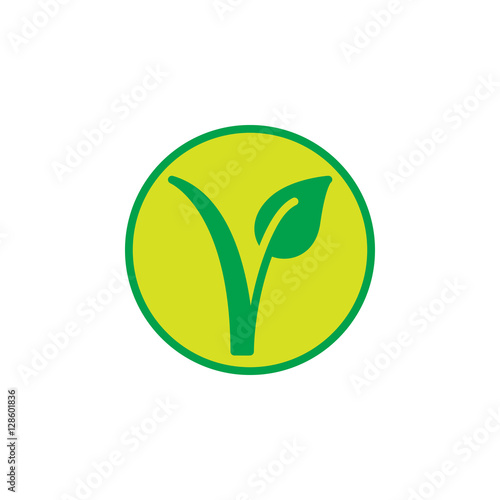 Vegetarian mark  Plant in a circle icon vector, filled flat