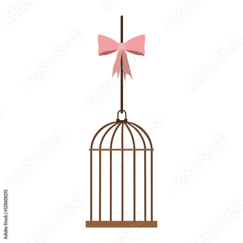 Fotografie, Obraz  cage hanging with pink bow vector illustration