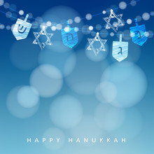 Hanukkah Blue Background With ...