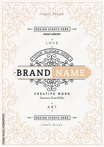 Monogram Creative Card Template With Flourishes Ornament