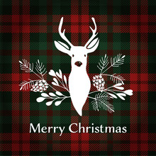 Merry Christmas Greeting Card. Reindeer With Christmas Bouquet. Tartan Checkered Plaid, Vector.