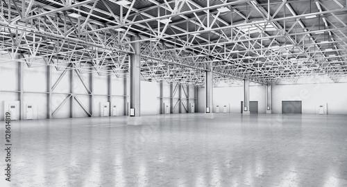 Keuken foto achterwand Industrial geb. Empty warehouse in white color. 3d illustration