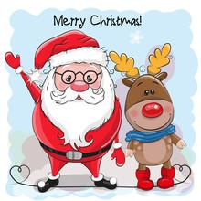 Cute Christmas Deer And Santa