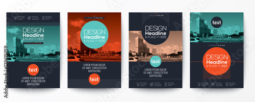 collection of modern design poster flyer brochure cover layout template with circle shape graphic elements and space for photo background