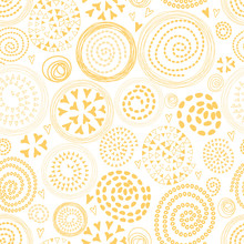 Seamless Sunny Abstract Pattern With Cute Yellow Circular Elements