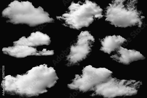 Poster Ciel Set of clouds white on isolated elements black background.